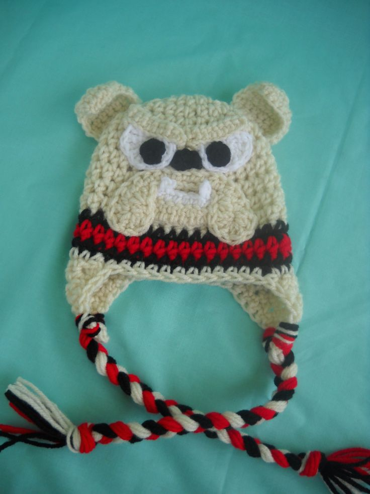Free Pattern For Crochet Bulldog : Georgia Bulldog Crochet Hat with Earflaps, Bulldog Hat ...