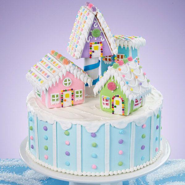 ... Gingerbread Mini Village makes a pretty cake topper on a light blue