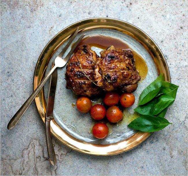 Grilled Pomegranate-Glazed Chicken With Sungold Tomato-Basil Salad ...