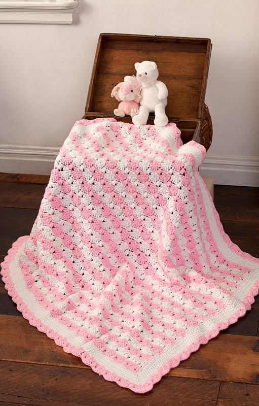 Caron Crochet Baby Blanket Pattern : Caron Peppermint Puff Baby Blanket with One Pound Pinterest