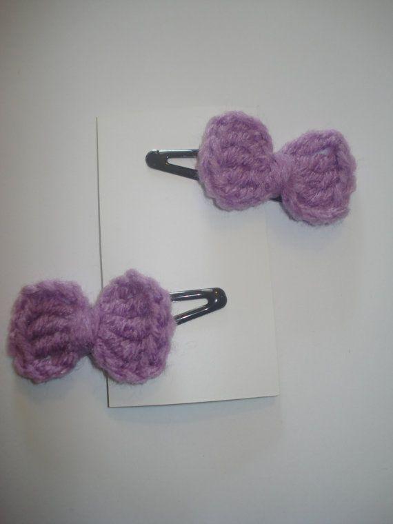 Crochet Hair Barrettes : Set of 2 lilac crocheted little bow hair barrettes snap clips
