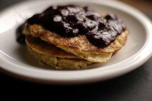 oatmeal pancakes with blueberry compote | Gluten-Free | Pinterest