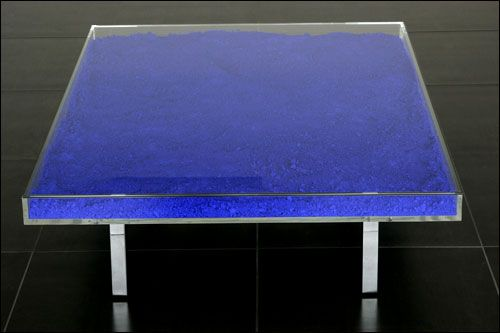Yves Klein Coffee Table Filled With Blue Pigment