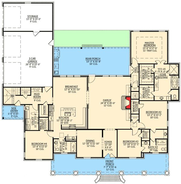 Graceful 4 Bedroom Acadian Home Plan