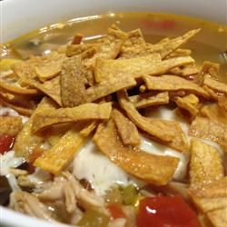 """Six Can Chicken Tortilla Soup Allrecipes.com """"Delicious and EASY zesty ..."""