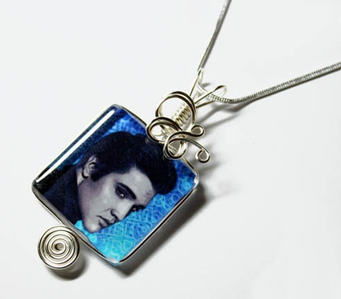Wire Wrap Grooved Glass Tile Photo  ELVIS Pendant by Nixcreations, $24.99
