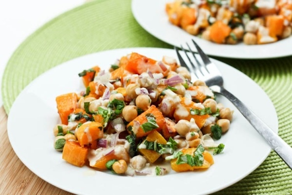 ... Squash and Chickpea Salad with Tahini Dressing from Avocado Pesto