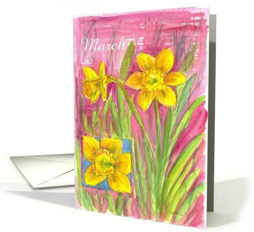 March Flower Birthday #greetingcard