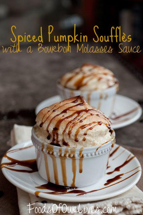 Spiced Pumpkin Soufflés with Bourbon Molasses Sauce