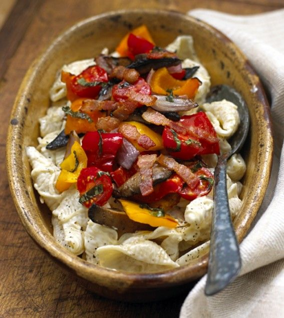 Creamy Bacon Pasta with Roasted Vegetables | Recipe