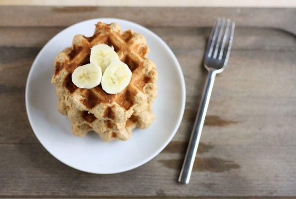 Peanut butter banana whole wheat waffles.