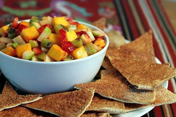 Fruit salad salsa with sugar and spice baked chips