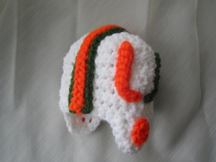 University of Miami Football Hat  --  Hurricanes Football --  Sizes 0-3 months or 3-6 months. $33.00, via Etsy.