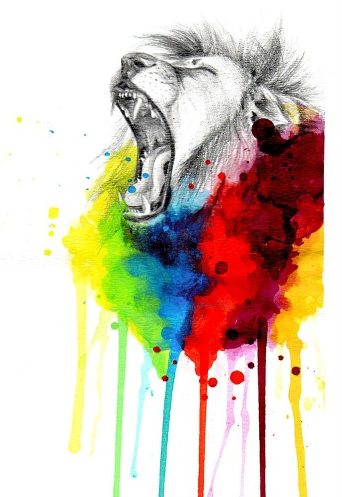cool lion drawings colorful