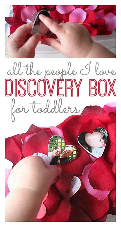 Fun! Toddlers dig through the discovery box to find pictures of loved ones. Great Valentine's Day idea for toddlers.