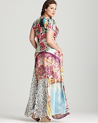 Johnny Was Collection Plus Size Patchwork Print Silk Maxi Dress