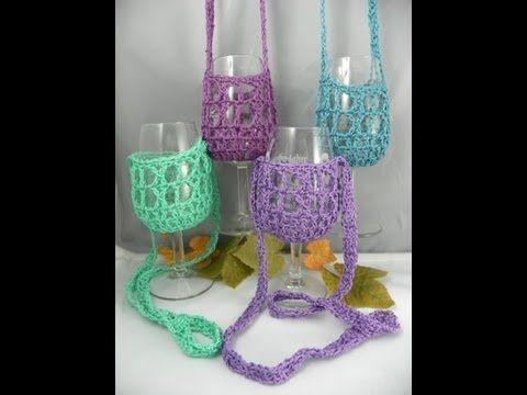 Hands free wine glass holders. crochet Pinterest