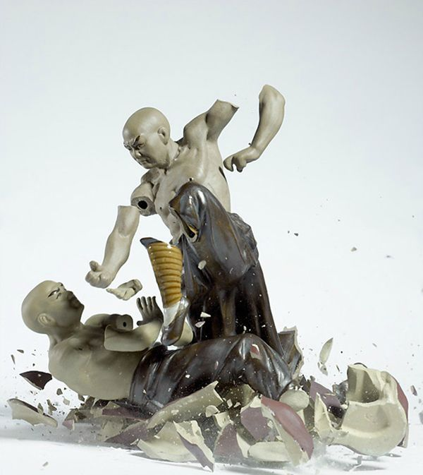 """""""From a height of three meters, porcelain figurines are dropped on the ground, and the sound they make when they hit trips the shutter release. The result: razor-sharp images of disturbing beauty—temporary sculptures made visible to the human eye by high-speed photography technology.""""  by Martin Klimas"""