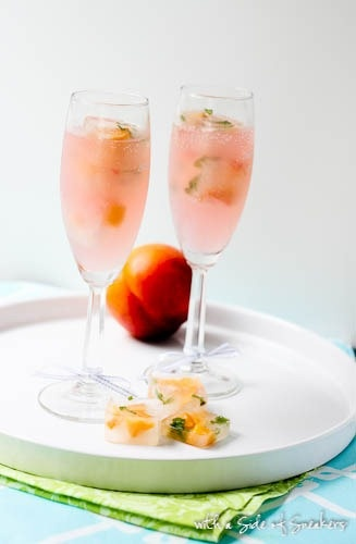 Sparkling Grapefruit Zinger with Peach-Basil Ice Cubes [could be made ...