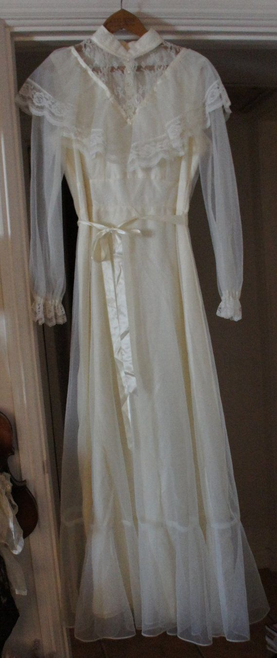 Vintage 60s 70s victorian style wedding dress for Vintage wedding dress 60s