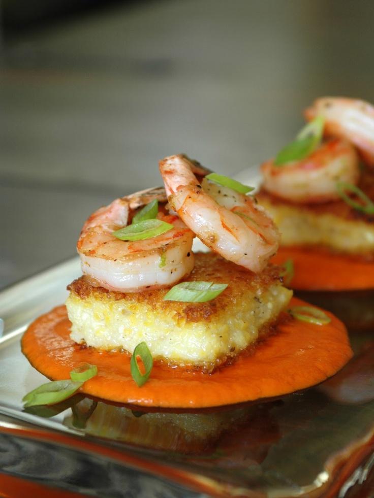 Slap Ya Mama Cajun spiced shrimp, seared polenta, and roasted red pepper coulis