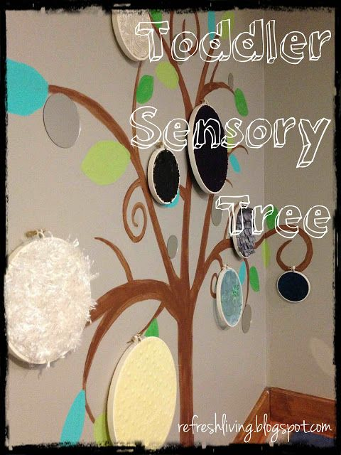 Stretch fabric over an embroidery hoop for sensory tree. Cute! These could be kept in a basket in the science center for little ones to explore, hung on the wall, or laid out on the ground. Neat things might happen with them in the block corner, too!