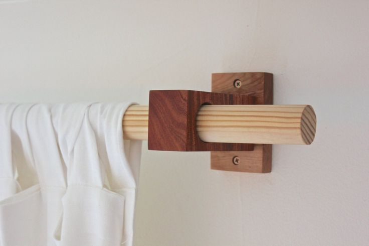 modern wood curtain rod holders | Around the house | Pinterest
