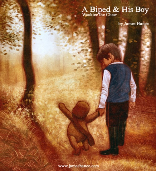 Lovely Drawing - 'A Biped & His Boy' (Wookiee The Chew) By James Hance  Prints available at:  http://www.jameshance.com