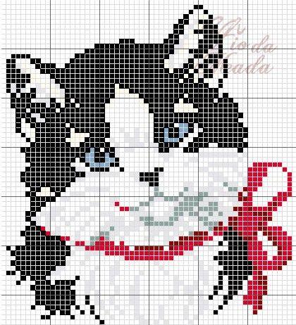 Схема вышивки кошки крестиком 18