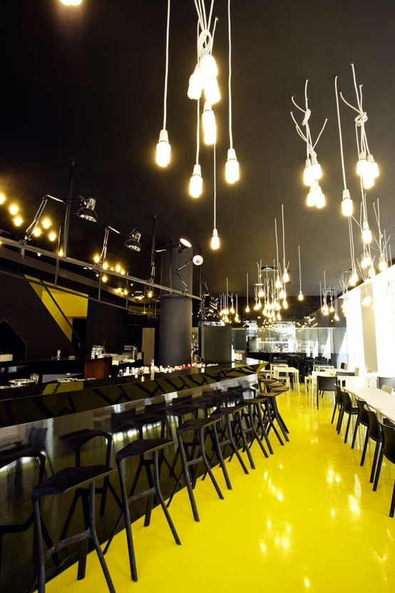 yellow floor - what a pop of color