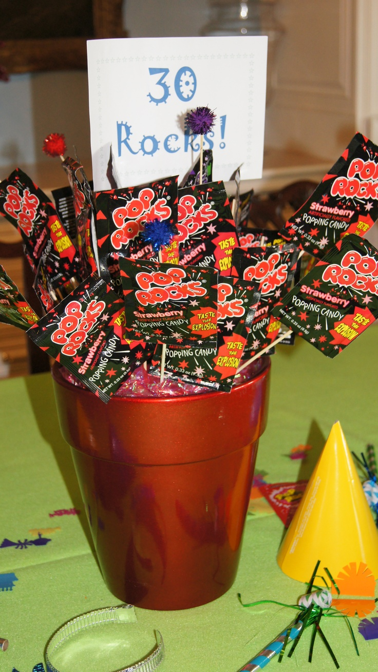 30 rocks centerpiece made with pop rocks better than the for 30th bday party decoration ideas