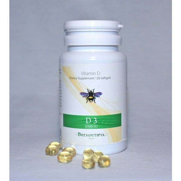 Beeyoutiful D3 Softgels, Regular price $7.00 ~ Sale price $5.60 ~ Blood sugar problems, low back pain, high blood pressure, type I and type II diabetes, Alzheimer's disease, kidney stones, psoriasis, depression, seasonal affective disorder, fibromyalgia and chronic fatigue syndrome and auto-immune diseases have all been linked with low levels of vitamin D, suggesting that this pro-hormone is a quiet, unsung worker of vast-reaching good in the body!