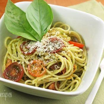Spaghetti with Pesto and Roasted Grape Tomatoes