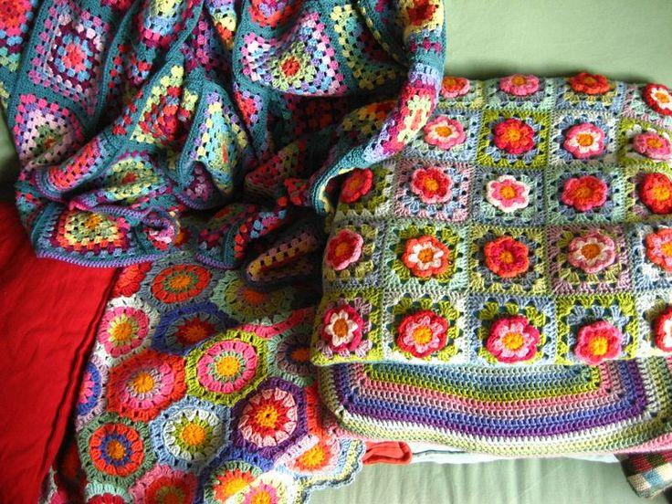 Crochetblankets Colourfull crochet_kleurrijk haakwerk Pinterest