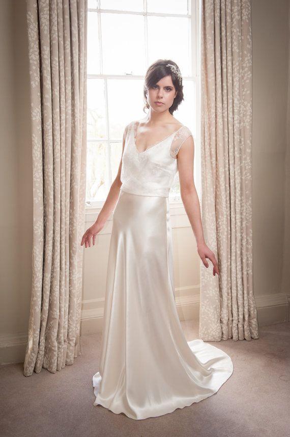 Elegant Couture Silk Satin Bias Cut Wedding Gown