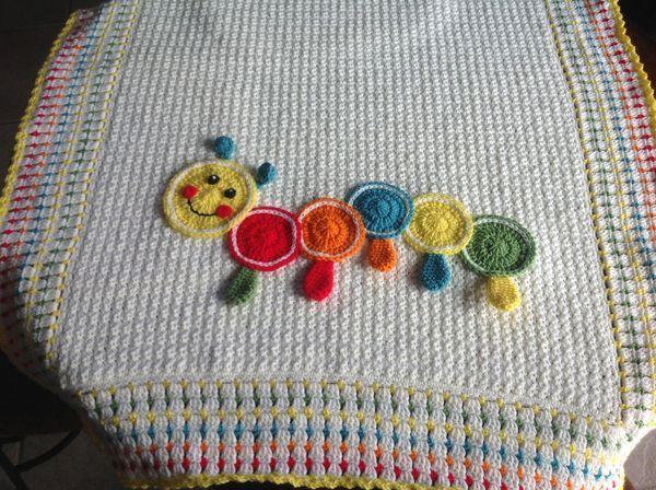 Crochet Caterpillar Baby Blanket Pattern : Baby blanket with caterpillar crochet Pinterest