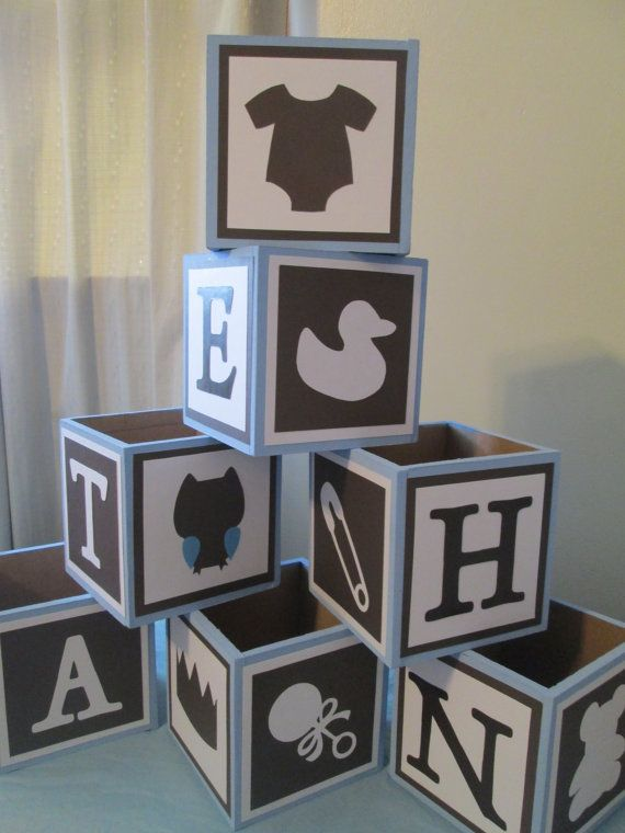 Wood planter box table decor baby blocks shower by