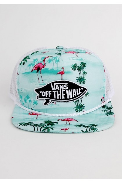 Vans Clothing Pink Flamingo Trucker Hat - Blue Atoll Flamingo $24.00 #vans