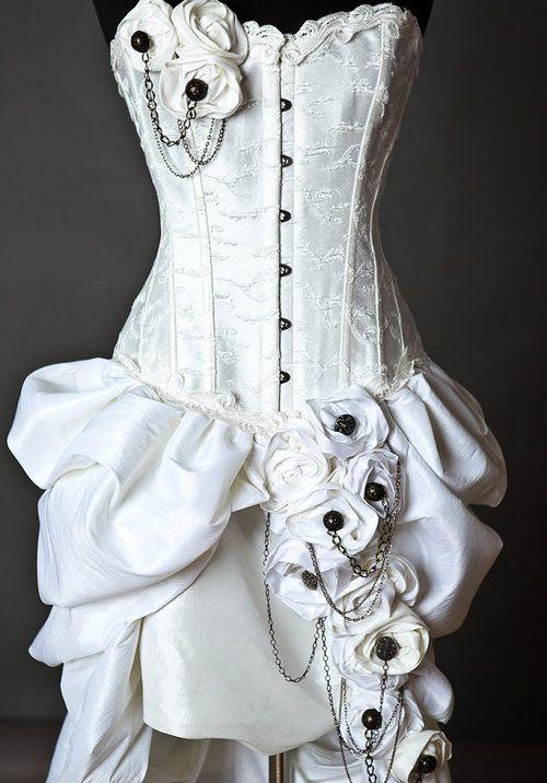 White steampunk corset dress corset pinterest for Steampunk corset wedding dress