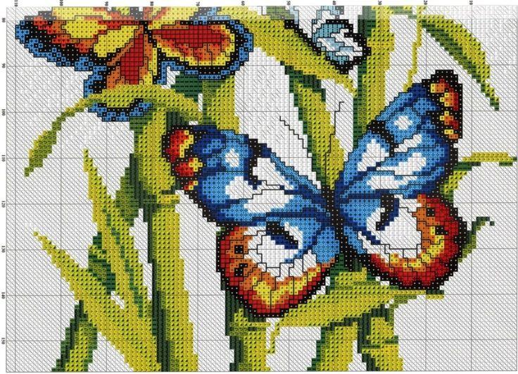Вышивка крестом с бабочками 69