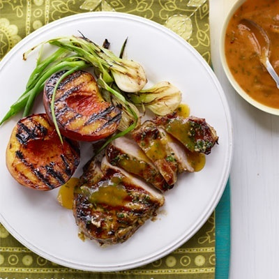 per person meals- Grilled Pork Chops N Peaches Seared on the grill ...