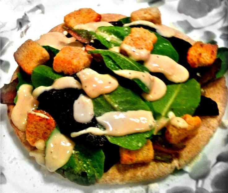 Skinny Salad Pizza! Whole Wheat Pita with Lettuce, Yogurt Caesar ...