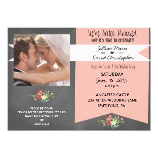 Floral Photo After Wedding Party Invitation