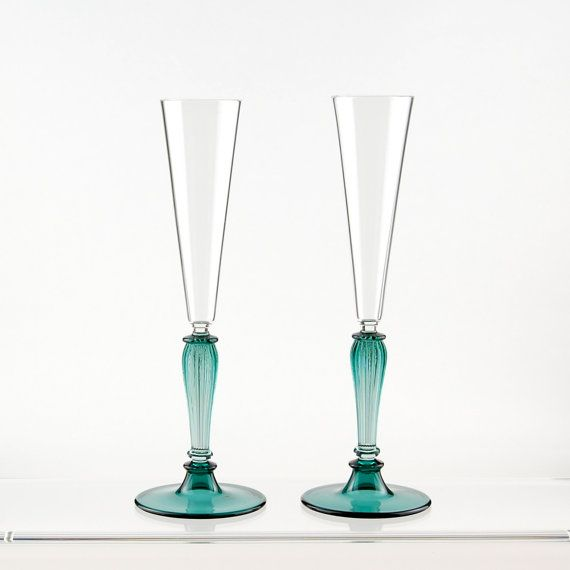 Champagne toasting flutes teal and clear hand blown glasses - Hand blown champagne flutes ...