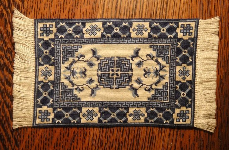 Artisan made micro petit point blue and white oriental rug for Blue and white oriental rug