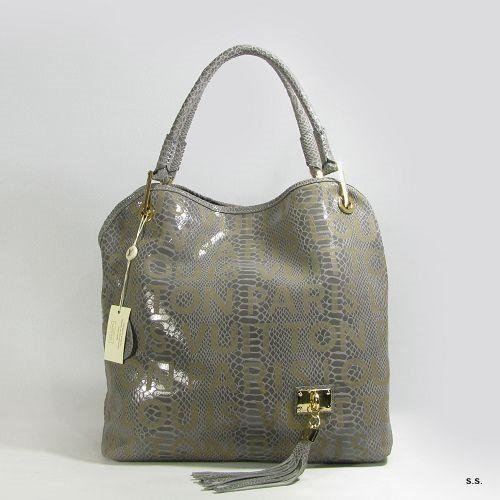 authentic louis vuitton snake skin leather handbag gray 07830 - $299