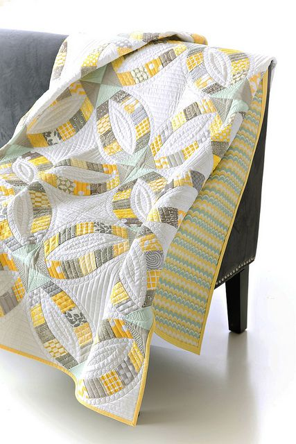 advanced quilting, yellow quilt, gray quilt, chevron quilt backing