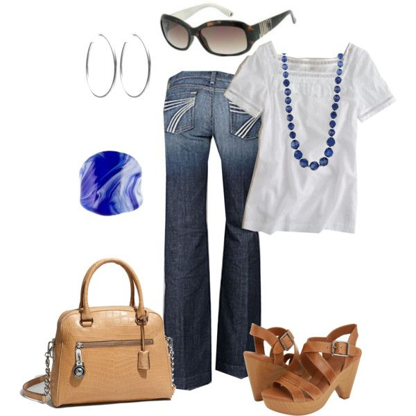 Easy outfit (I'd probably switch out the heels for flip flops), created by lccalifornia on Polyvore