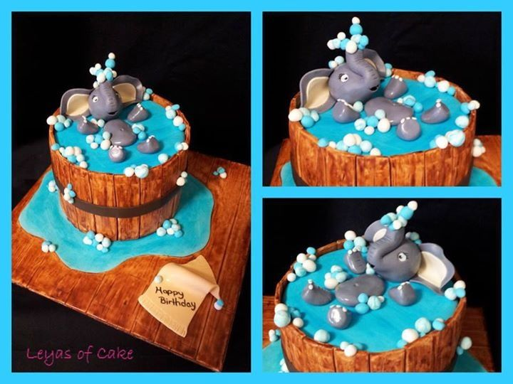 Swimming elephant Cake ideas Pinterest