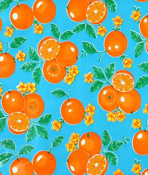 Light Blue Oranges Oilcloth Fabric. Charming for a patio table. I think I saw this on the kitchen table on the set of Ben and Kate! Oil Cloth is so retro/vintage!